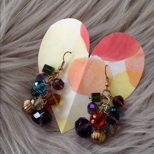 Jewelry - Gold beaded multicolor dangle earrings pierced ear